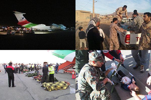 پل هوایی تهران-کرمانشاه برقرار شد/ سپاه و ارتش پیشتاز امداد رسانی