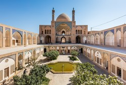 A view of Masjed-e Agha Bozorg, a 19th-century mosque in Kashan, central Iran