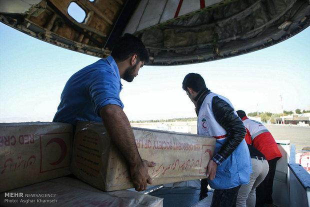 Tahran'dan deprem bölgesine sevk edilen yardım malzemeleri
