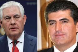 وزیر خارجه آمریکا و بارزانی تلفنی گفتگو کردند