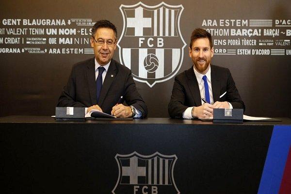«لیونل مسی» تا سال ۲۰۲۱ قراردادش را با بارسلونا تمدید کرد