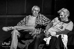 "Mehdi Bajestani (L) and Ahmad Saatchian perform ""The Sunset Limited"" at the Entezami Hall of the Iranshahr Theater Complex in Tehran. (Photo by Reza Javidi)"