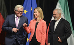 German Foreign Minister Frank-Walter Steinmeier, EU foreign policy chief Federica Mogherini and Iranian Foreign Minister Javad Zarif | EPA
