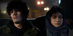 "Amir-Reza Ranjbaran (L) and Sadaf Asgari act in a scene from ""Disappearance""."