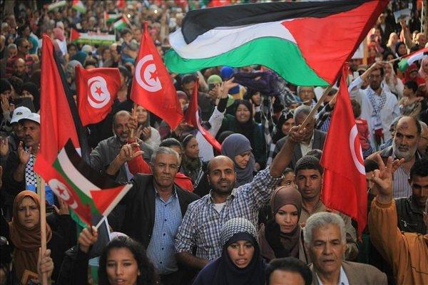 تظاهرات گسترده مردم تونس در حمایت از قدس اشغالی