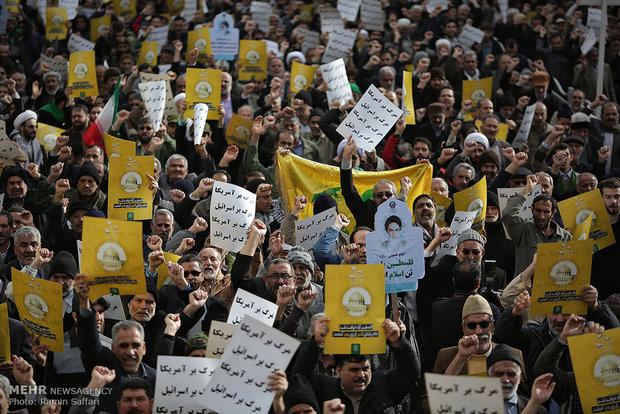 مظاهرات احتجاجية في مدينة مشهد المقدسة تنديداً بإعلان القدس عاصمة للكيان الصهيوني