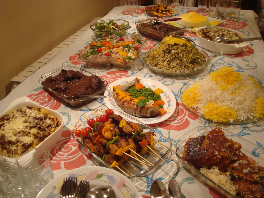 In Iran, all family members gather around sofreh, which is spread either on the table or on the floor during meals.