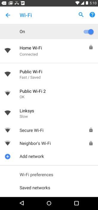 اندروید جدید سرعت وای فای را برای کاربر مشخص می کند