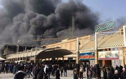 اصابة 43 زائرا ايرانيا بحالات اختناق اثر اندلاع حريق في فندق بالنجف