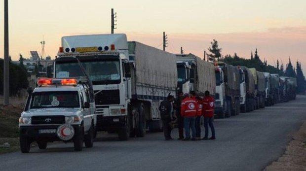 New humanitarian aid convoy arrives at al-Bukamal city