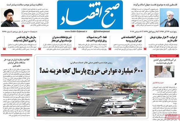 صفحه اول روزنامههای اقتصادی ۲۳ آذر ۹۶