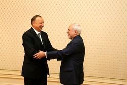 FM Zarif meets Azeri Pres. Aliyev in Baku