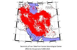 Seismic hazard map of Iran