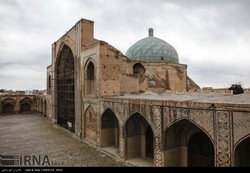 A file photo depicts an exterior view of Jameh Mosque in Qazvin