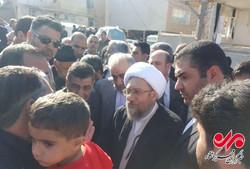 آملی لاریجانی در نقاط زلزله زده کرمانشاه