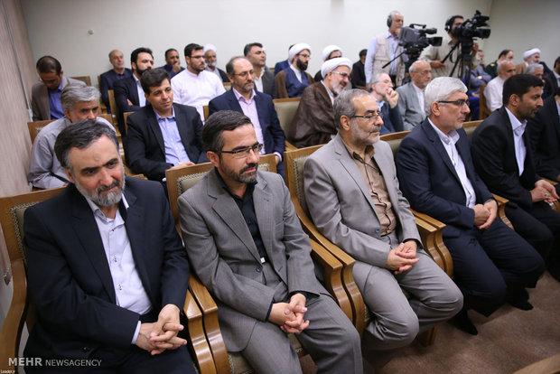 """لقاء قائد الثورة الاسلامية مع أعضاء مؤتمر تفسير القرآن """"آية الله آقانجفي"""""""