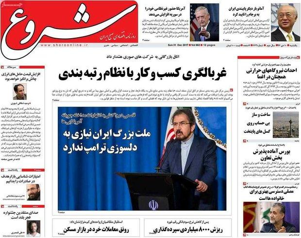صفحه اول روزنامههای اقتصادی ۱۰ دی ۹۶
