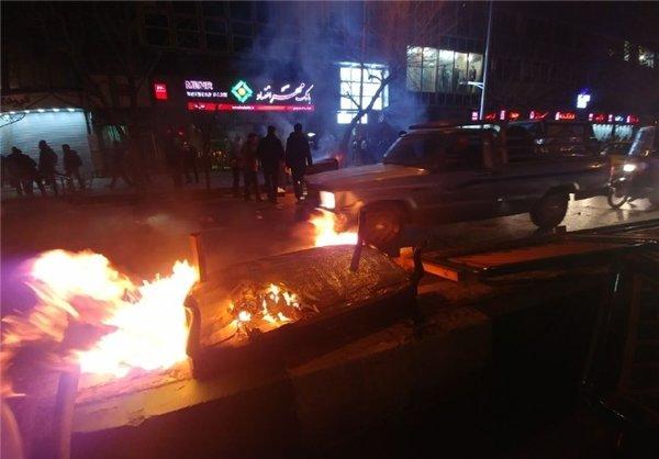 مشاهد من بعض اعمال الشغب في محافظة كرمانشاه/فيديو