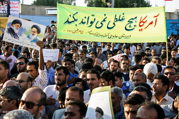 تجمع و راهپیمایی مردمی در اعتراض به آشوب های اخیر در بندرعباس