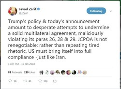ظريف: قرار ترامب محاولة يائسة ولا يمكن اعادة التفاوض بشأن الاتفاق النووي