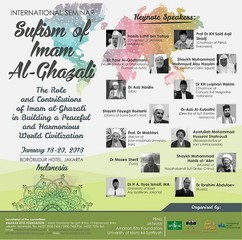 A poster for a conference on Iranian mystic Al-Ghazali in Jakarta