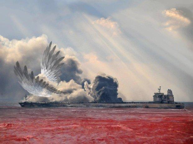 Kaza geçiren İranlı tankerde şehit düşenlerin anısına...