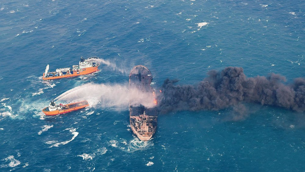 'No hope' for sailors aboard burning oil tanker, Iran official says