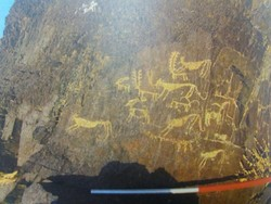 A view of newly-found prehistoric rock carvings in Isfahan province, central Iran