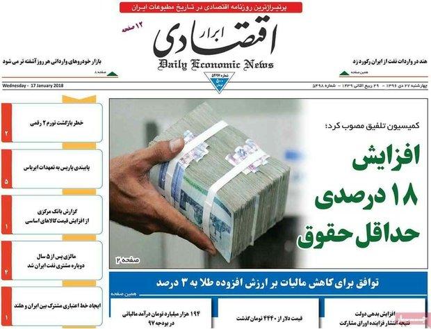 صفحه اول روزنامههای اقتصادی ۲۷ دی ۹۶