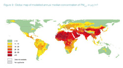 PM 2.5, particulate matter map