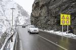 بارش برف و باران در جاده چالوس