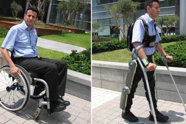 جهاز اكسوسكلتون  يتيح للمقعدين المشي على الاقدام / فيديو
