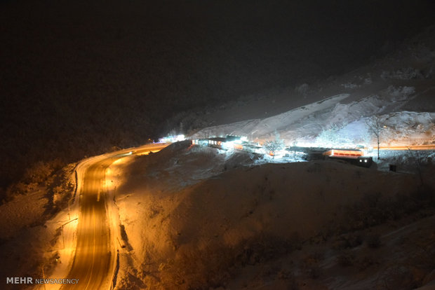 Heyran pass in N Iran framed at night