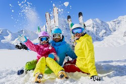 Skiers pose for a photo in Dizin resort