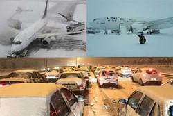 بارش برف جاده فرودگاه