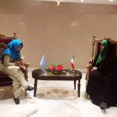 Shamshad Akhtar (L) and Masoumeh Ebtekar discussing women's empowerment in IT