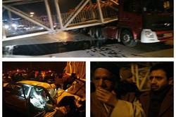 سقوط پل عابر پیاده پاکدشت