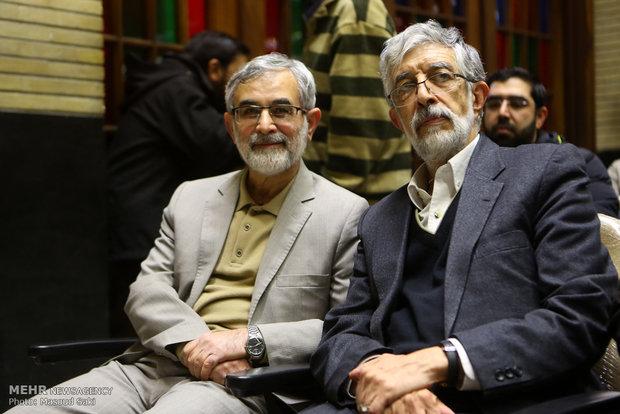 غلامعلی حداد عادل و غلامحسین الهام در مراسم ترحیم زنده یاد رضا مقدسی فعال رسانه ای
