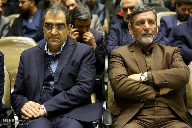 محمدحسین صفار هرندی و سید حسین قاضی زاده هاشمی وزیر بهداشت در مراسم ترحیم زنده یاد رضا مقدسی فعال رسانه ای