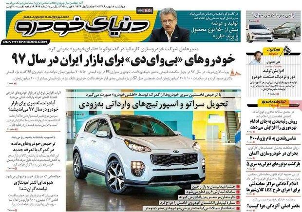 صفحه اول روزنامههای اقتصادی ۱۸ بهمن ۹۶