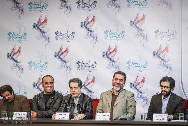 بهروز شعیبی، سید محمود رضوی، بهزاد عبدی و علیرضا برازنده در نشست خبری فیلم دارکوب