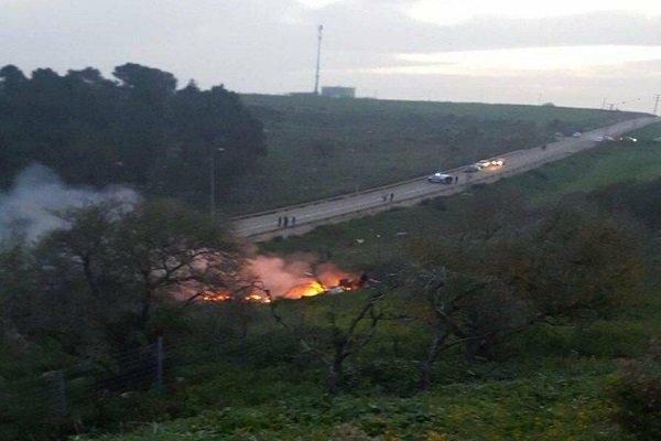 تحطم طائرة حربية إسرائيلية في الجولان المحتل بعد اصابتها فوق سوريا