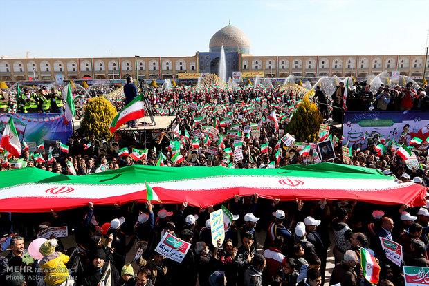 İsfahan'daki 11 Şubat yürüyüş töreninden görüntüler