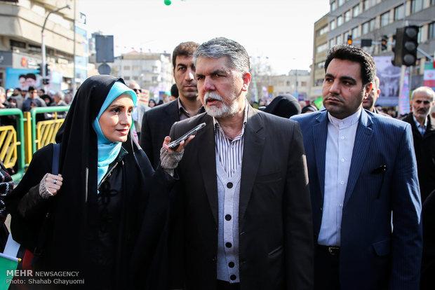 سید عباس صالحی وزیر فرهنگ و ارشاد اسلامی در راهپیمایی تماشایی بیست و دوم بهمن