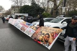 تظاهرات مقابل سفارت بحرین در لندن