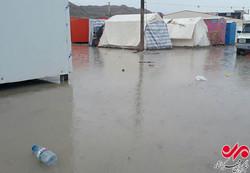 بارندگی زلزله زدگان سرپلذهابی را دچار مشکل کرد/ تعطیلی مدارس