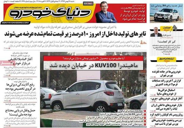 صفحه اول روزنامههای اقتصادی ۲۸ بهمن ۹۶