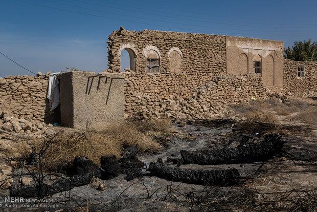 دو نخل سوخته در کنار دیوار فروریختهی خانهای روی زمین رها شده است. در برخی روستاها خشکسالی سبب شده تا نخلها خشک شوند و بقایای آن برای کاهش هزینهی حمل به مکانهای دیگر سوزانده شود.