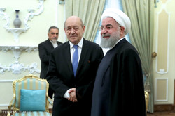 French foreign minister Jean-Yves Le Drian meet Iran president Hassan Rouahni in Tehran, on March 5, 2018.