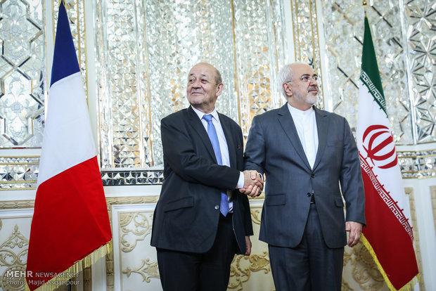 لقاء ظريف ووزير الخارجية الفرنسي